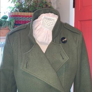 Just Fab Olive Green Shin-Length Trench Coat